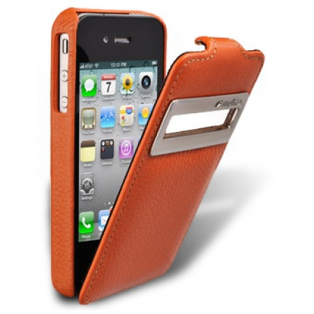 Кожаный чехол Melkco для Apple iPhone 4/4S - Jacka ID Type - оранжевый