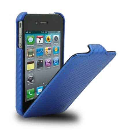 Чехол Melkco для Apple iPhone 4/4S - Jacka Type (Carbon Fiber Pattern) - синий