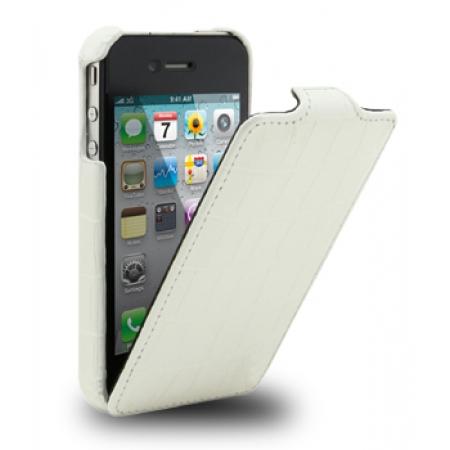 Кожаный чехол Melkco для Apple iPhone 4/4S - Jacka Type - крокодиловая кожа - белый