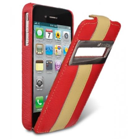 Кожаный чехол Melkco для Apple iPhone 4/4S - Jacka ID Type Limited Edition - красный с желтой полосой