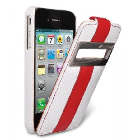 Кожаный чехол Melkco для Apple iPhone 4/4S - Jacka ID Type Limited Edition - белый с красной полосой
