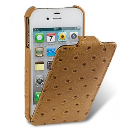 Кожаный чехол, страусиная кожа Melkco для Apple iPhone 4S / 4 - Jacka Type - цвет хаки