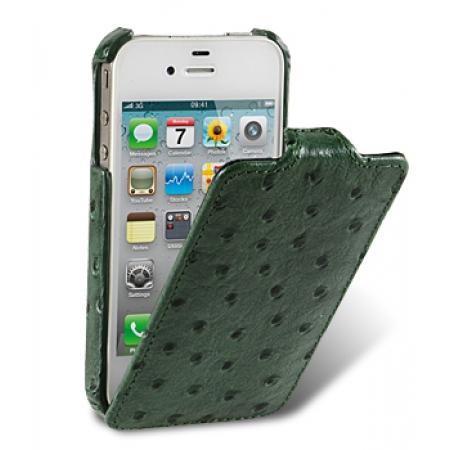 Кожаный чехол, страусиная кожа Melkco для Apple iPhone 4S / 4 - Jacka Type - зелёный