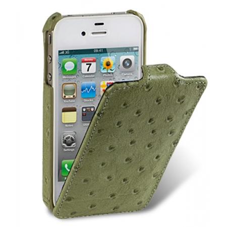 Кожаный чехол, страусиная кожа Melkco для Apple iPhone 4S / 4 - Jacka Type - оливковый