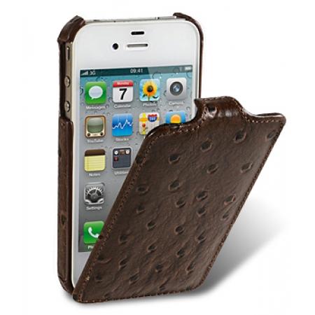 Кожаный чехол, страусиная кожа Melkco для Apple iPhone 4S / 4 - Jacka Type - коричневый
