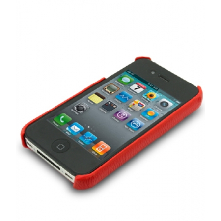 Кожаный чехол - задняя крышка Melkco для Apple iPhone 4/4S - красный