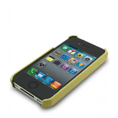 Кожаный чехол - задняя крышка Melkco для Apple iPhone 4/4S - желтый