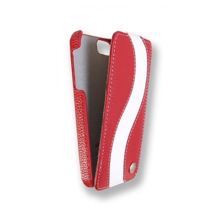 Кожаный чехол Melkco для Apple iPhone 5/5S / iPhone SE - Jacka Type Special Edition - красный с белой полосой