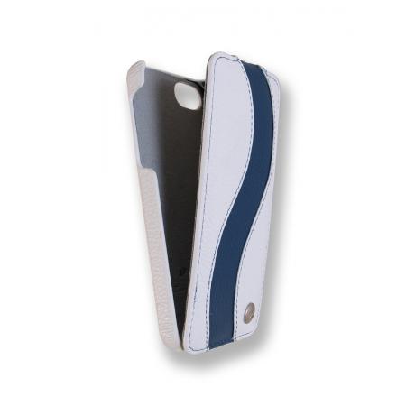 Кожаный чехол Melkco для Apple iPhone 5/5S / iPhone SE - Jacka Type Special Edition - белый с синей полосой
