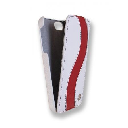 Кожаный чехол Melkco для Apple iPhone 5/5S / iPhone SE - Jacka Type Special Edition - белый с красной полосой