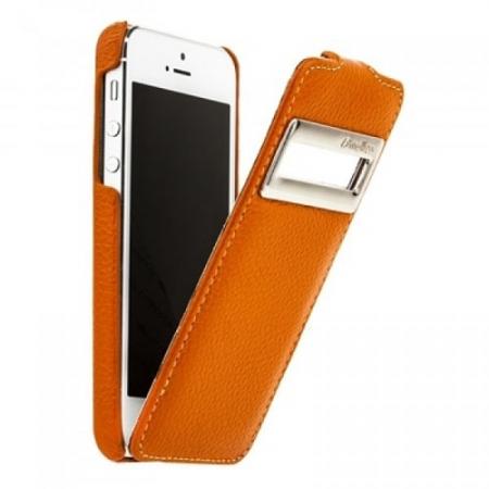 Кожаный чехол с окошком Melkco для Apple iPhone 5/5S / iPhone SE - Jacka ID Type - оранжевый