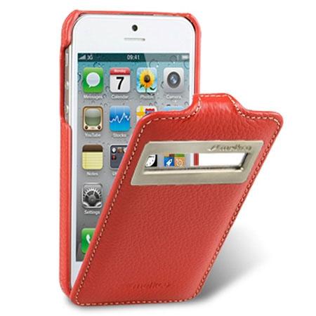 Кожаный чехол с окошком Melkco для Apple iPhone 5/5S / iPhone SE - Jacka ID Type - красный