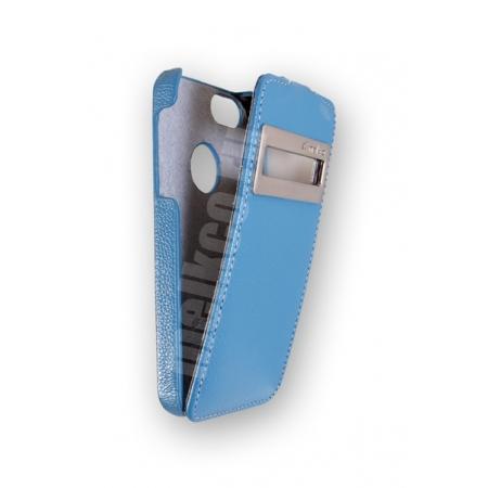 Кожаный чехол с окошком Melkco для Apple iPhone 5/5S / iPhone SE - Jacka ID Type - голубой