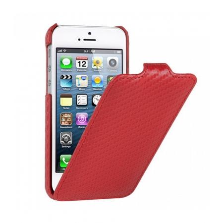 Чехол Melkco для Apple iPhone 5/5S / iPhone SE - Jacka Type (Carbon Fiber Pattern) - красный