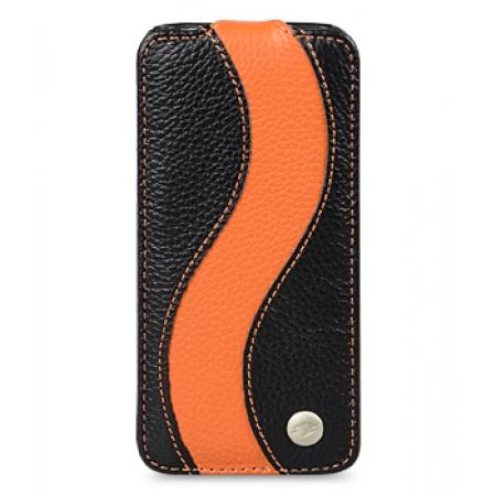 Кожаный чехол Melkco для Apple iPhone 5C - JT Special Edition - черный с оранжевой полосой