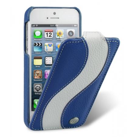 Кожаный чехол Melkco для Apple iPhone 5/5S / iPhone SE - Jacka Type Special Edition - синий с белой полосой