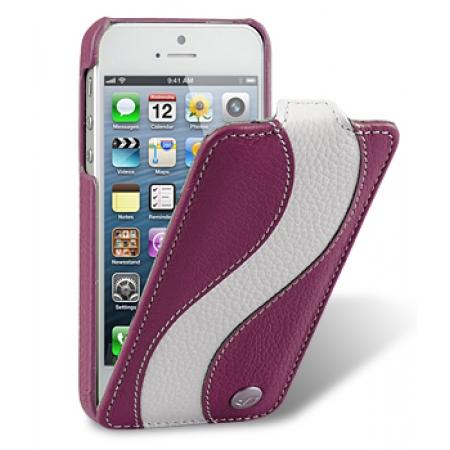 Кожаный чехол Melkco для Apple iPhone 5/5S / iPhone SE - Jacka Type Special Edition - сиреневый с белой полосой