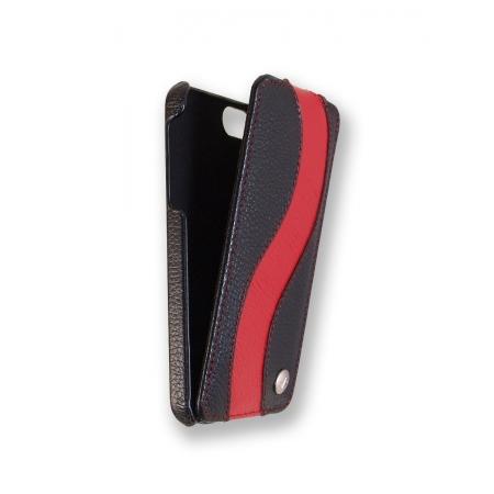 Кожаный чехол Melkco для Apple iPhone 5/5S / iPhone SE - Jacka Type Special Edition - черный с красной полосой