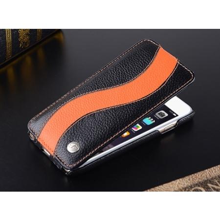"""Кожаный чехол Melkco для Apple iPhone 6/6S (4.7"""") - Jacka Type SE - черный с оранжевой полосой"""