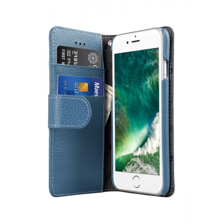 """Кожаный чехол книжка Melkco для iPhone 7/8 (4.7"""") - Wallet Book Type - голубой"""