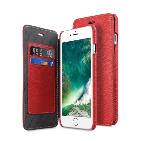 Кожаный чехол Melkco для Apple iPhone 8 Plus/7 Plus - Face Cover Book Type Case - красный