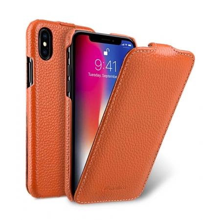 Кожаный чехол Melkco для Apple iPhone X/XS - Jacka Type - оранжевый