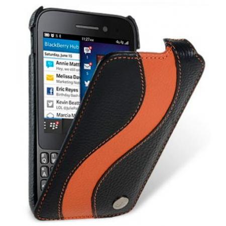 Кожаный чехол Melkco для Blackberry Q5 - Special Edition Jacka Type - чёрный с оранжевой полосой