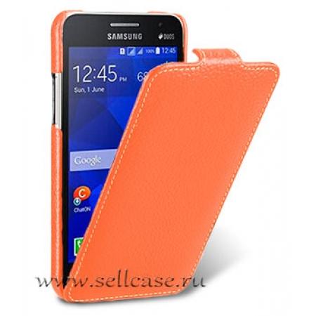Кожаный чехол Melkco для Samsung Galaxy Core 2 Duos / G355H - Jacka Type - оранжевый