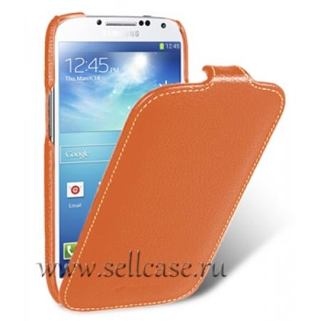 Кожаный чехол Melkco для Samsung Galaxy S4 GT-I9500 - Jacka Type - оранжевый