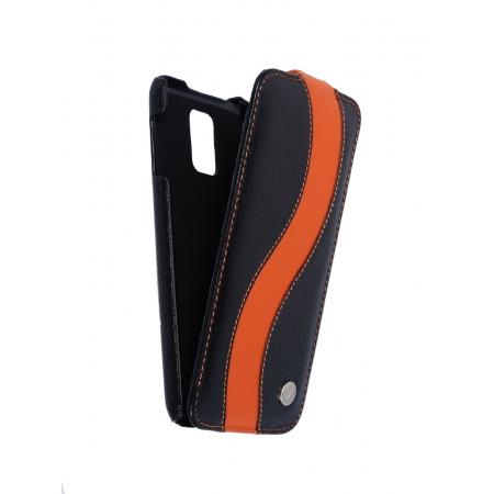 Кожаный чехол книжка Melkco для Samsung Galaxy S5 - Jacka Type SE - черный с оранжевой полосой