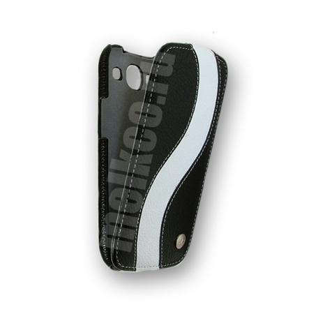 Кожаный чехол Melkco для Samsung Galaxy SIII GT-I9300 - Special Edition Jacka Type - чёрный с белой полосой