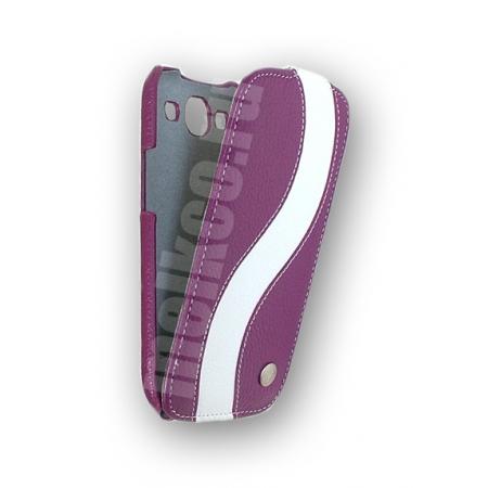 Кожаный чехол Melkco для Samsung Galaxy SIII GT-I9300 - Special Edition Jacka Type - сиреневый с белой полосой