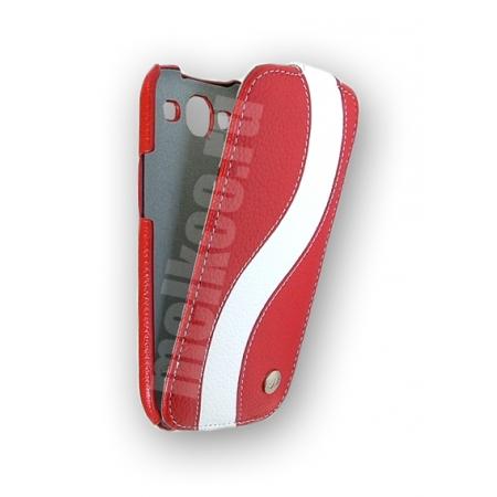 Кожаный чехол Melkco для Samsung Galaxy SIII GT-I9300 - Special Edition Jacka Type - красный с белой полосой