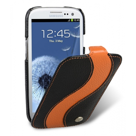 Кожаный чехол Melkco для Samsung Galaxy SIII GT-I9300 - Special Edition Jacka Type - чёрный с оранжевой полосой