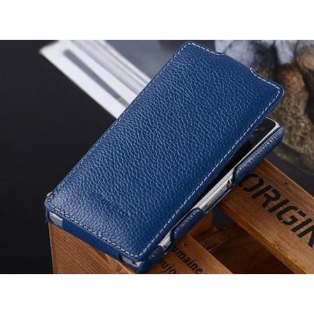 Кожаный чехол книжка Melkco для Sony Xperia Z1 Compact M51w / Z1 Mini D5503 - Jacka Type - темно-синий