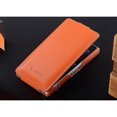 Кожаный чехол книжка Melkco для Sony Xperia Z1 Compact M51w / Z1 Mini D5503 - Jacka Type - оранжевый
