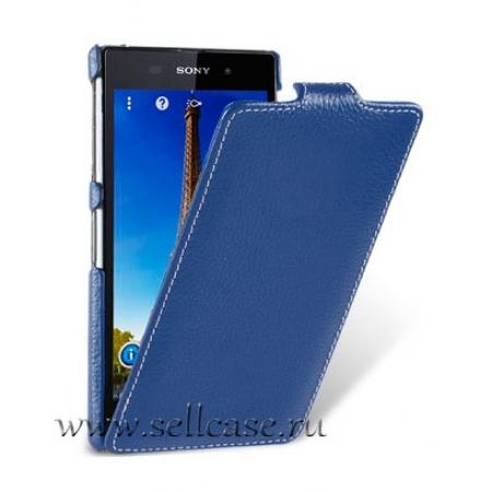 Кожаный чехол Melkco для Sony Xperia Z1 - Jacka Type - темно-синий