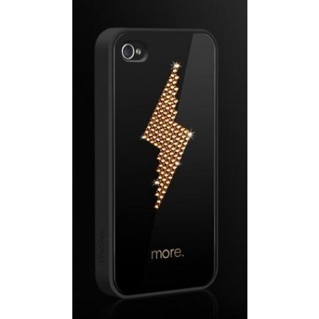 """Чехол More Cubic Black Exclusive Plus для iPhone 4/4S украшенная кристаллами от SWAROVSKI® - """"Золотая молния"""""""