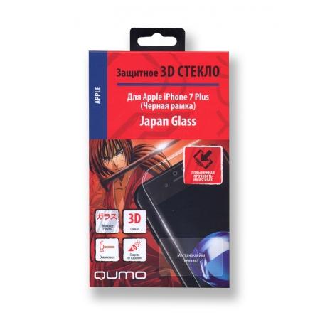 Полноэкранное защитное закаленное 3D стекло QUMO для iPhone 7 Plus/ 8 Plus с черной рамкой