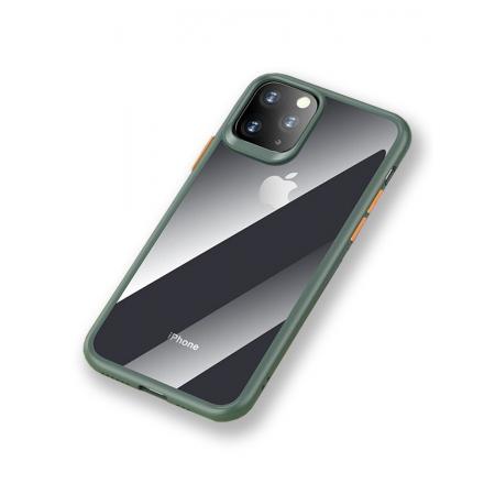 Чехол накаладка Rock Guard Pro Protection Case для Apple iPhone 11 Pro Max, прозрачный темно-зеленый