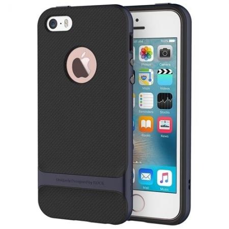 Силиконовый двухкомпонентный чехол Rock Royce Series для Apple iPhone 5/5S / iPhone SE - темно-синий