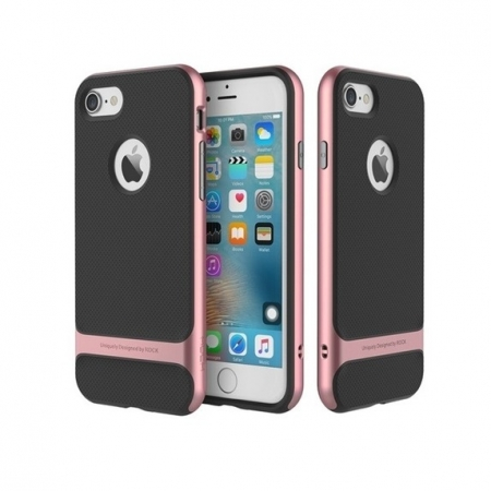 Двухкомпонентный силиконовый TPU-PC чехол Rock Royce Series для Apple iPhone 8/7 - черно-розово-золотистый
