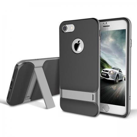 Двухкомпонентный TPU-PC чехол накладка с подставкой Rock Royce with stand Series для iPhone 7/8 - серый