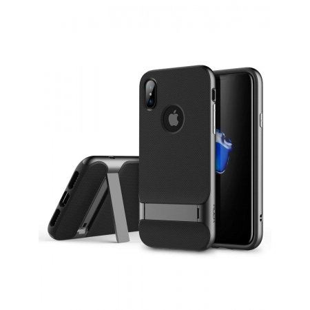 Двухкомпонентный TPU-PC чехол накладка с подставкой Rock Royce Kickstand для iPhone X/XS - серый