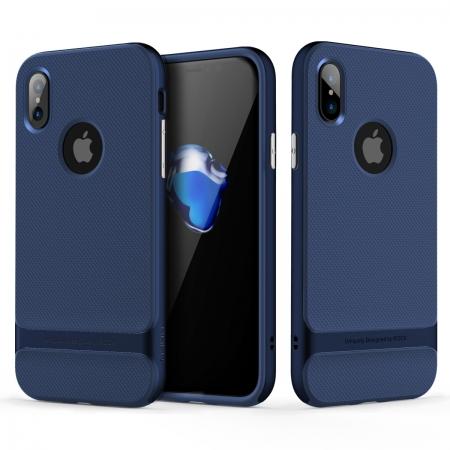 Двухкомпонентный силиконовый TPU-PC чехол Rock Royce Series для iPhone X/XS - синий