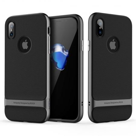 Двухкомпонентный силиконовый TPU-PC чехол Rock Royce Series для iPhone X/XS - черно-серый