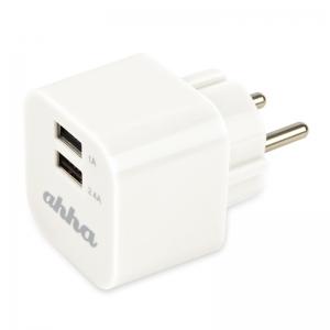 Сетевое зарядное устройство с 2-мя USB выходами для смартфонов и планшетов - Ahha Hippo Dual USB Charger
