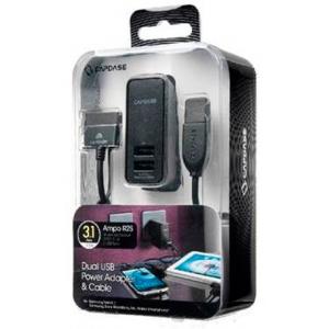 Сетевое зарядное устройство с двумя USB ваходами CAPDASE Dual USB Power Adapter & Cable Ampo R2S