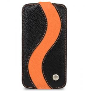 Кожаный чехол Melkco для Samsung Galaxy Note 3 SM-N900 - Jacka Type Special Edition - черный с оранжевой полосой