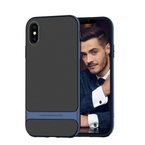 Двухкомпонентный силиконовый TPU-PC чехол Rock Royce Series для iPhone Xs Max - синий